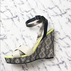 Sam & Libby | multicolored Aztec ankle strap wedge